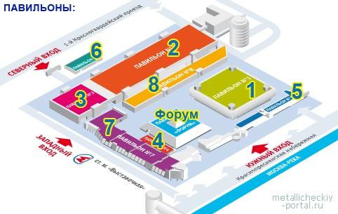 ЦВК Экспоцентр, план расположения павильонов