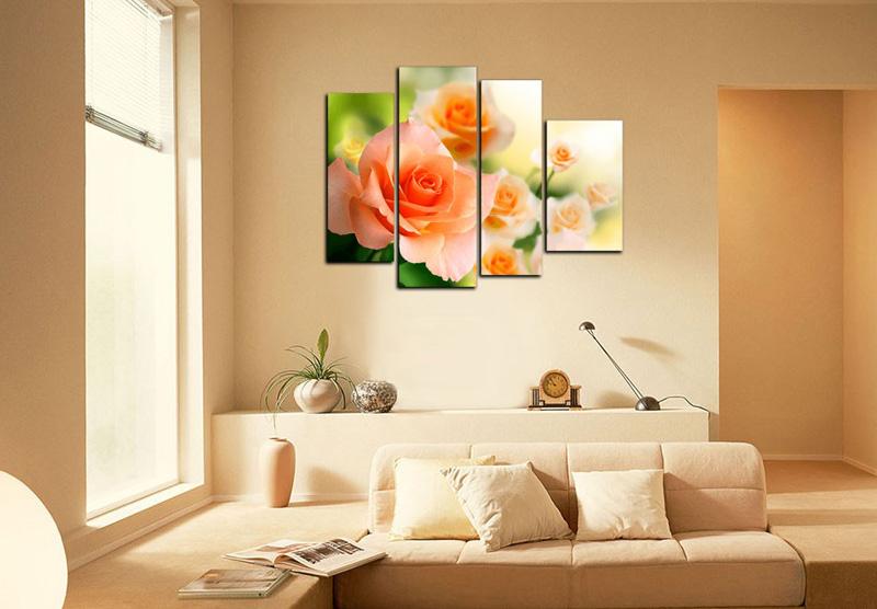 Модульные картины с цветами для декора стены