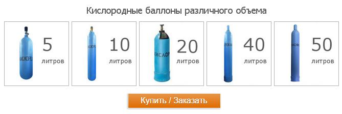 Продажа кислородных баллонов различного объема